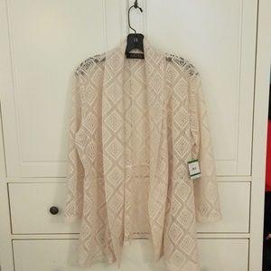 Kasper Large crochet jacket in cream